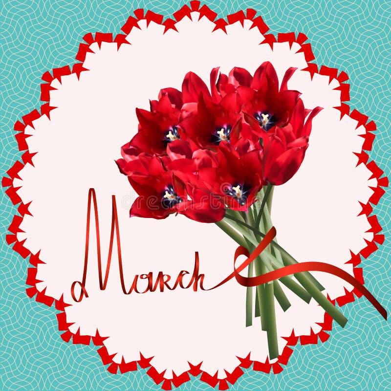 Μάρτιος δασικό λευκό άνοιξη λουλουδιών Τουλίπα διανυσματική απεικόνιση
