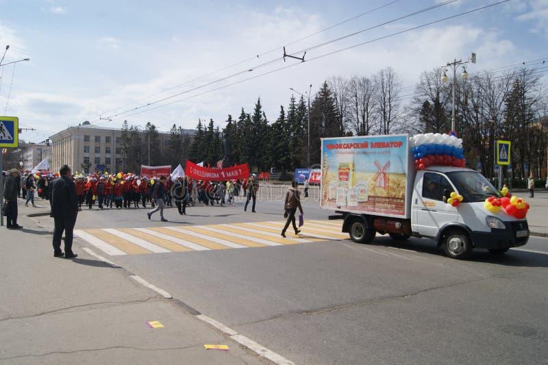 Μάρτιος την 1η Μαΐου στην πόλη Cheboksary στοκ εικόνα με δικαίωμα ελεύθερης χρήσης