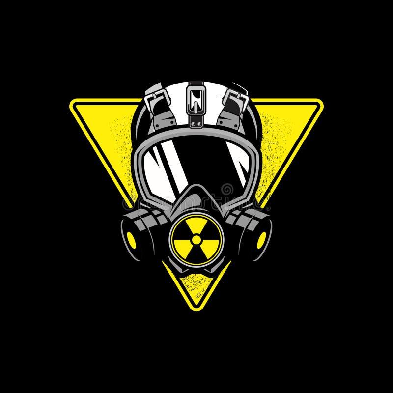 Μάσκα αερίου με την τριγωνική μορφή και το πυρηνικό διανυσματικό πρότυπο συμβόλων ελεύθερη απεικόνιση δικαιώματος