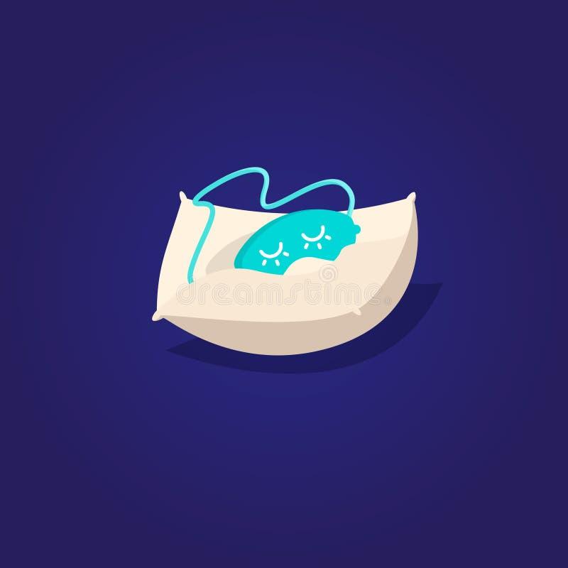 Μάσκα για τον ύπνο και το μαξιλάρι γλυκό ονείρου διανυσματική απεικόνιση