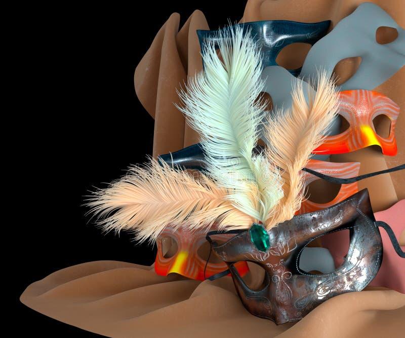 Μάσκα καρναβαλιού μετάλλων με τα φτερά στοκ εικόνες