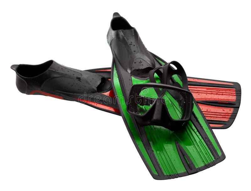 Μάσκα κατάδυσης, πράσινα και κόκκινα βατραχοπέδιλα με τις πτώσεις νερού στοκ φωτογραφία με δικαίωμα ελεύθερης χρήσης