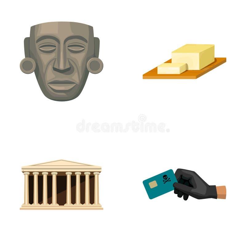 Μάσκα, τυρί και άλλο εικονίδιο Ιστού στο ύφος κινούμενων σχεδίων κτήριο, πιστωτική κάρτα απεικόνιση αποθεμάτων