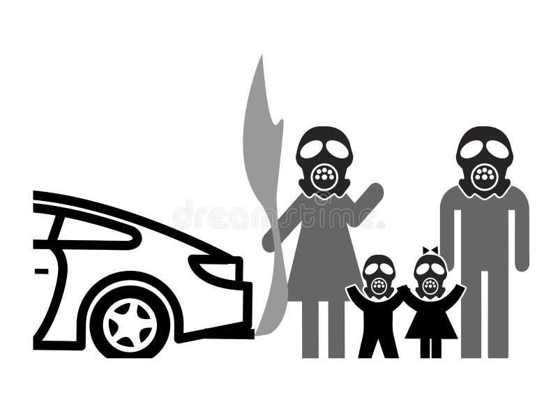 Μάσκες αερίου ενάντια στην ατμοσφαιρική ρύπανση διανυσματική απεικόνιση