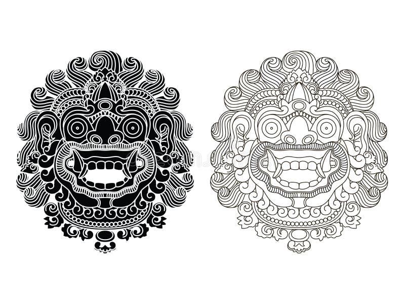Μάσκες του μυθολογικού Θεού Από το Μπαλί ύφος Barong στοκ φωτογραφία με δικαίωμα ελεύθερης χρήσης