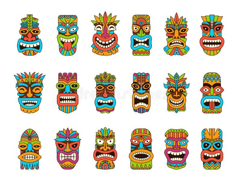 Μάσκες Tiki Φυλετικές της Χαβάης τοτέμ αφρικανικές παραδοσιακές ξύλινες απεικονίσεις μασκών συμβόλων χρωματισμένες διάνυσμα διανυσματική απεικόνιση