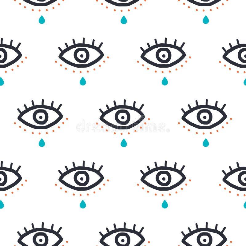 Μάτια με την πτώση δακρυ'ων hipster άνευ ραφής σχέδιο τέχνης ύφους hipster στο λαϊκό Διανυσματικό υπόβαθρο σύστασης νεολαίας για  διανυσματική απεικόνιση