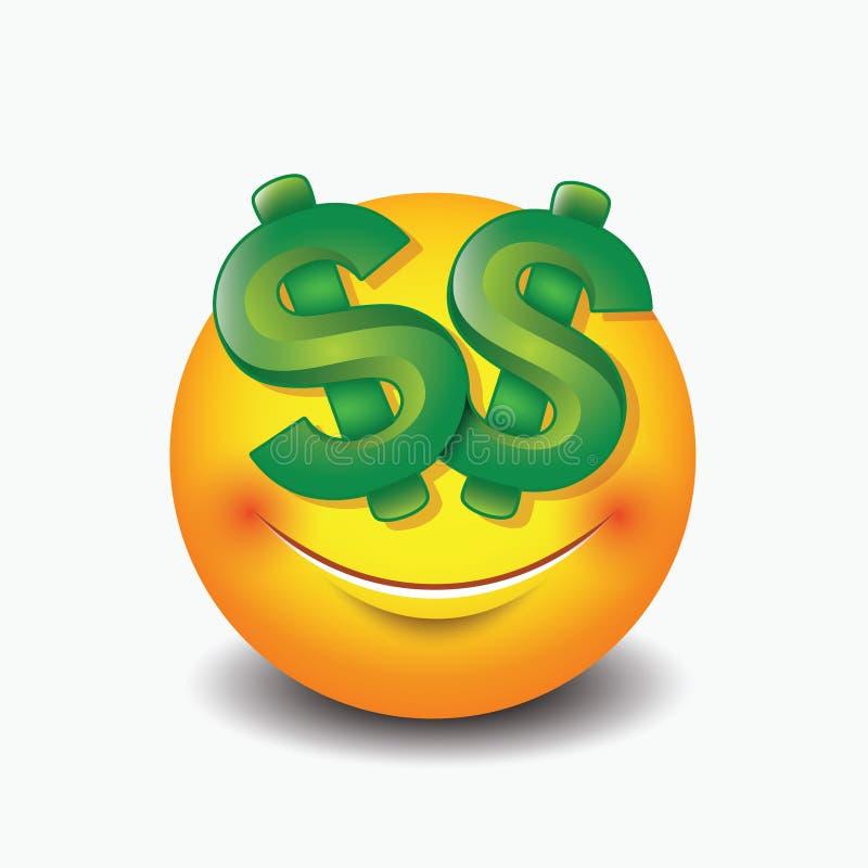Μάτια δολαρίων emoticon, emoji, smiley - διανυσματική απεικόνιση απεικόνιση αποθεμάτων