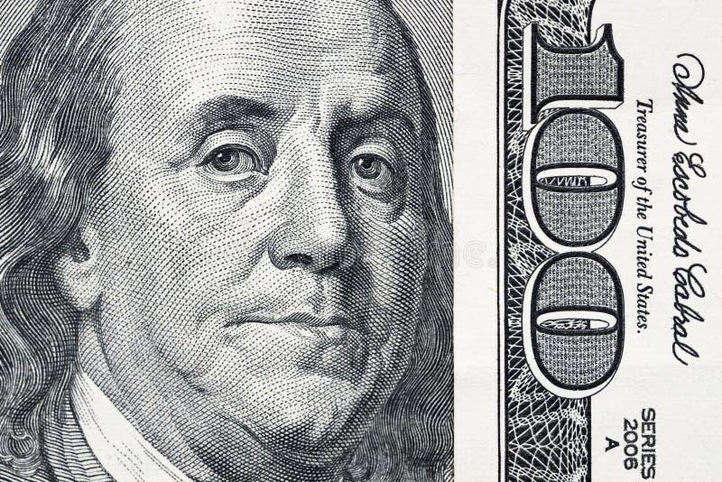 Μάτια του Benjamin Franklin ` s από έναν λογαριασμό εκατό-δολαρίων Το πρόσωπο του Benjamin Franklin στο τραπεζογραμμάτιο εκατό δο στοκ εικόνες