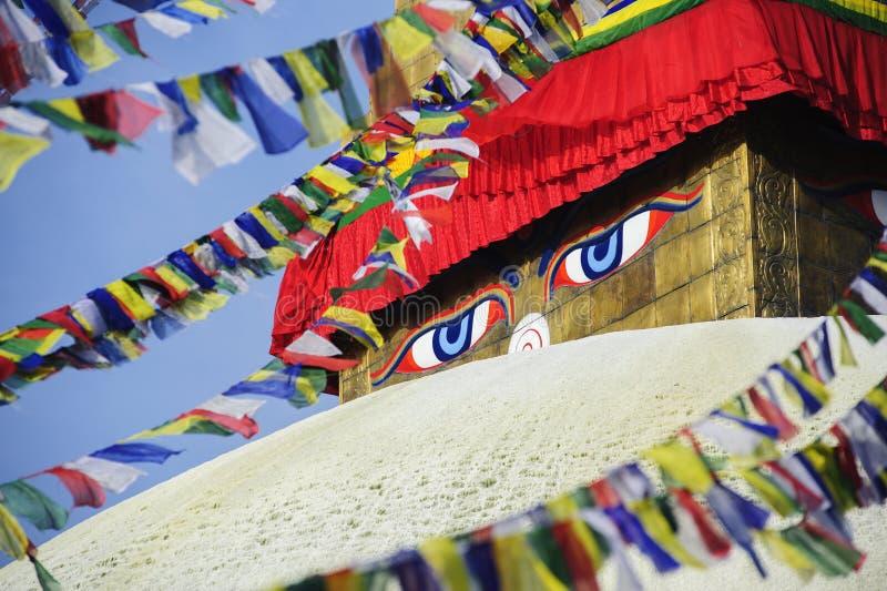 Μάτια φρόνησης, Bodhnath, Νεπάλ στοκ φωτογραφία