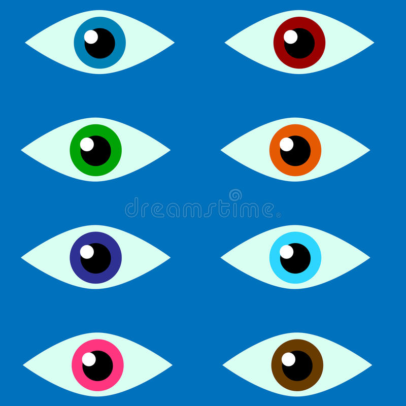 Μάτια 8 χρώματα σε ένα μπλε υπόβαθρο - απεικόνιση διανυσματική απεικόνιση