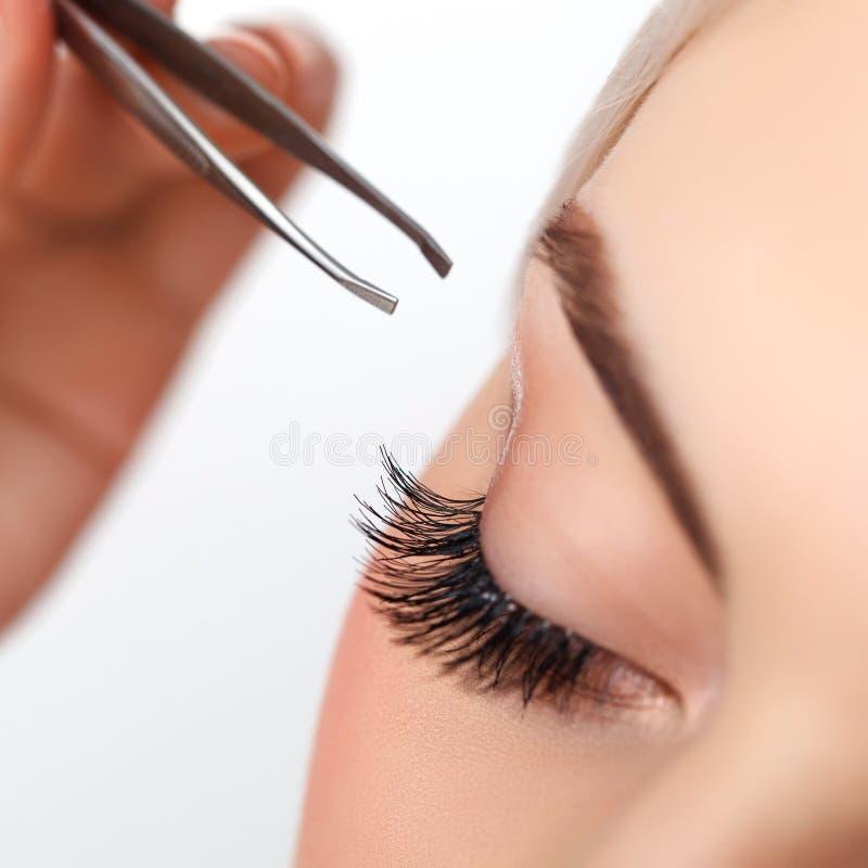 Μάτι γυναικών με τα μακροχρόνια eyelashes. Επέκταση Eyelash. στοκ φωτογραφία με δικαίωμα ελεύθερης χρήσης