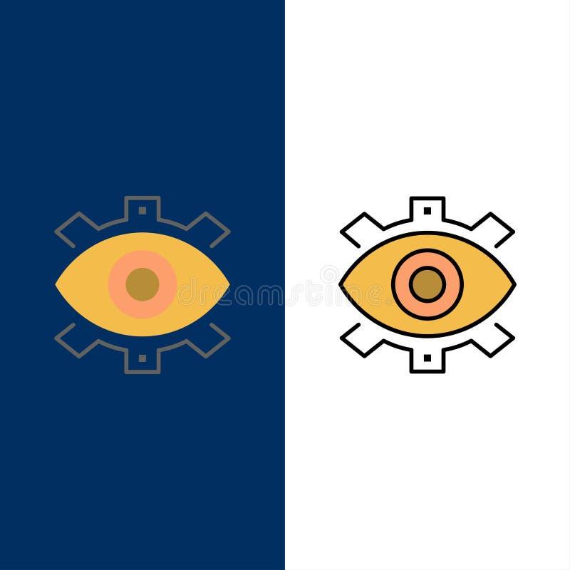Μάτι, δημιουργικό, παραγωγή, επιχείρηση, δημιουργικός, σύγχρονος, εικονίδια παραγωγής Επίπεδος και γραμμή γέμισε το καθορισμένο δ διανυσματική απεικόνιση