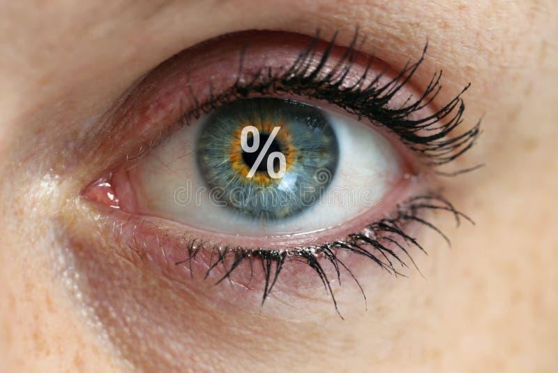 Μάτι με ένα σημάδι τοις εκατό στην έννοια μαθητών στοκ φωτογραφία