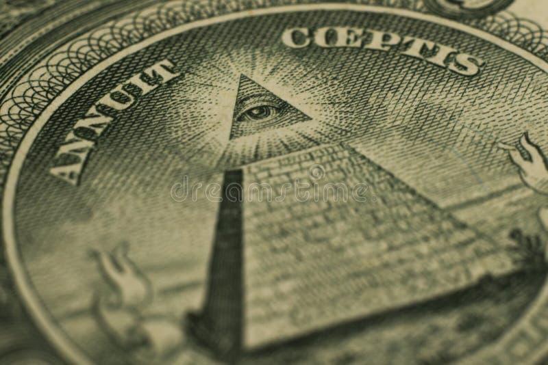 Μάτι δολαρίων της πυραμίδας στοκ εικόνες με δικαίωμα ελεύθερης χρήσης