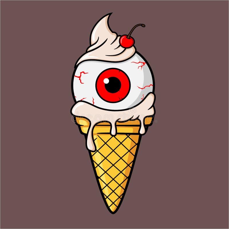 Μάτι παγωτού με την κρέμα και το κεράσι γάλακτος βανίλιας ελεύθερη απεικόνιση δικαιώματος