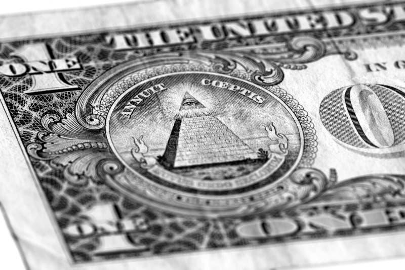 Μάτι της πρόνοιας σε ένα ΑΜΕΡΙΚΑΝΙΚΟ δολάριο στοκ εικόνα με δικαίωμα ελεύθερης χρήσης