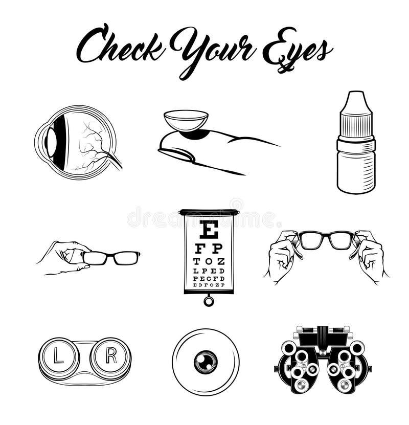 Μάτι, φακοί, γυαλιά, πίνακας δοκιμής οράματος Εξέταση ματιών Σύνολο οπτικής Εικονίδια οφθαλμολογίας καθορισμένα διάνυσμα ελεύθερη απεικόνιση δικαιώματος