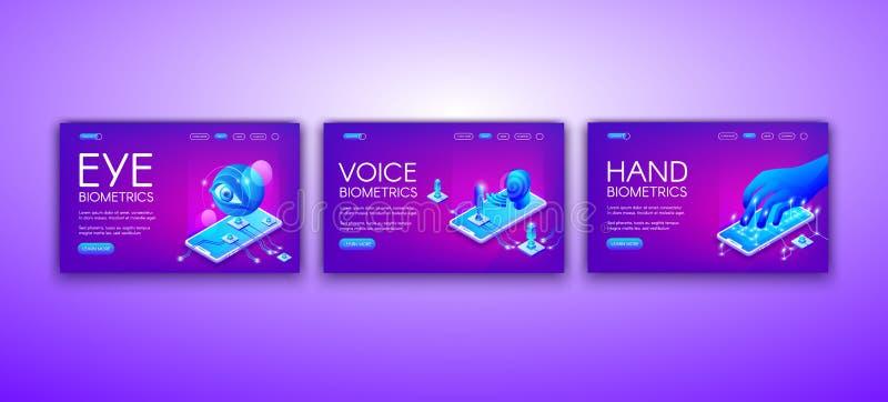 Μάτι, φωνή και διανυσματική απεικόνιση βιομετρικής χεριών ελεύθερη απεικόνιση δικαιώματος