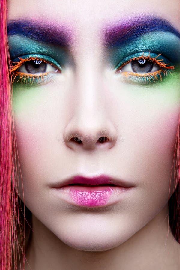 Μάτι Makeup Λεπτομέρεια διακοπών makeup ψεύτικα μαστίγια στοκ εικόνα