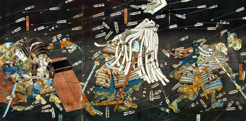 Μάχη Σαμουράι στην ιαπωνική παραδοσιακή ζωγραφική στοκ φωτογραφία με δικαίωμα ελεύθερης χρήσης