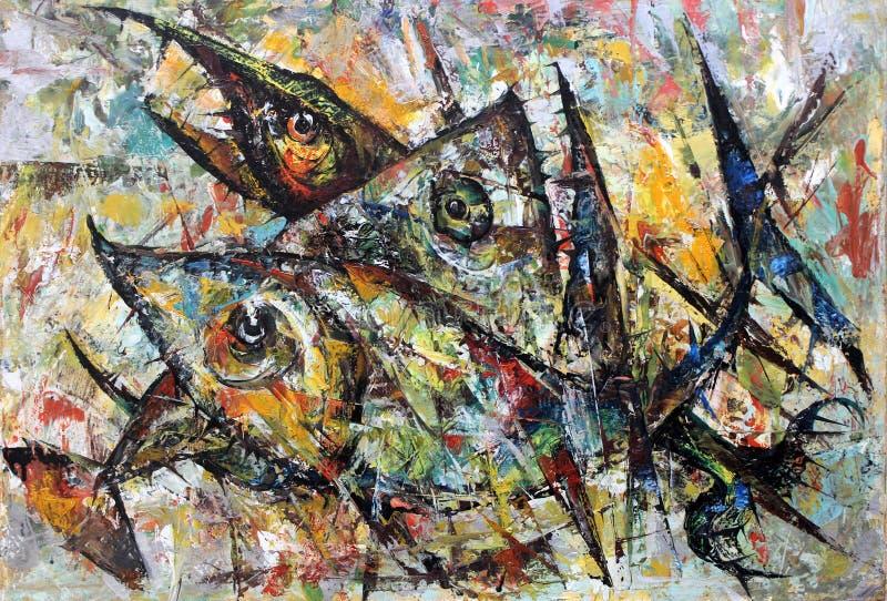 Μάχη Piranha Ελαιογραφία έκφρασης διανυσματική απεικόνιση