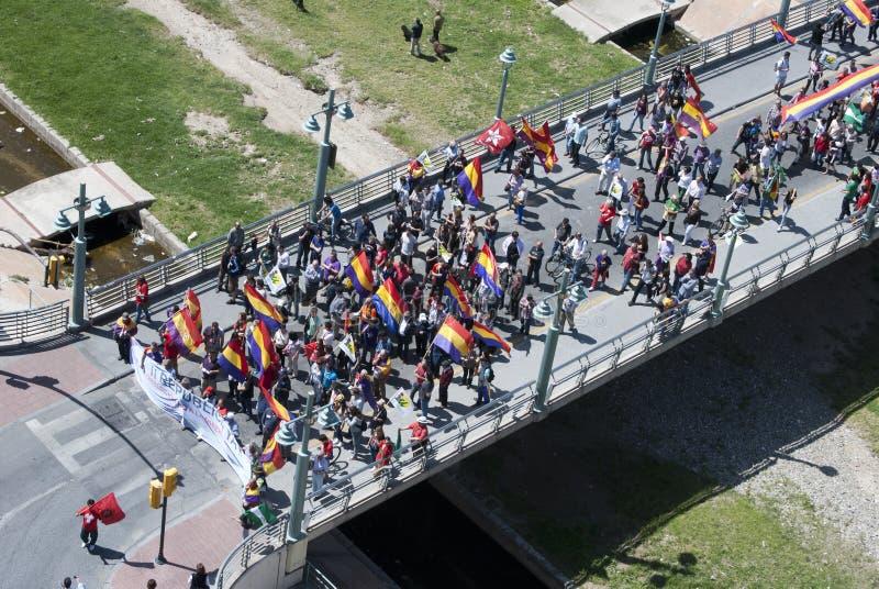 Μάλαγα (Ισπανία), στις 14 Απριλίου 2013: Επιδείξεις ενάντια στη μοναρχία στην ΙΙ επέτειο Δημοκρατίας στοκ εικόνα