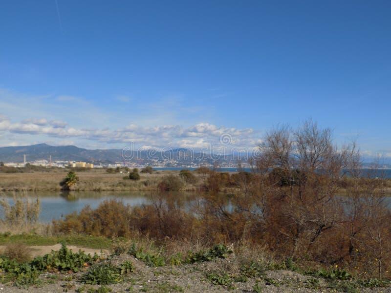 Μάλαγα κόλπος-Guadalhorce ποταμός-Ανδαλουσία-Ισπανία στοκ φωτογραφίες με δικαίωμα ελεύθερης χρήσης