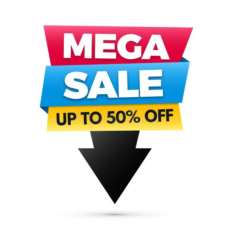 Μέγα έμβλημα πώλησης, μεγάλο σχέδιο αφισών πώλησης απεικόνιση αποθεμάτων