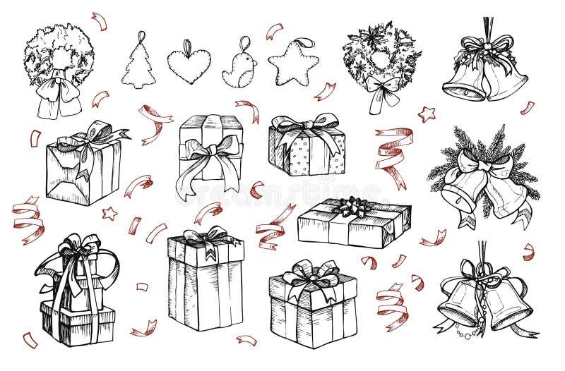 Μέγα εκλεκτής ποιότητας σύνολο Συρμένες χέρι διανυσματικές απεικονίσεις - Χαρούμενα Χριστούγεννα διανυσματική απεικόνιση