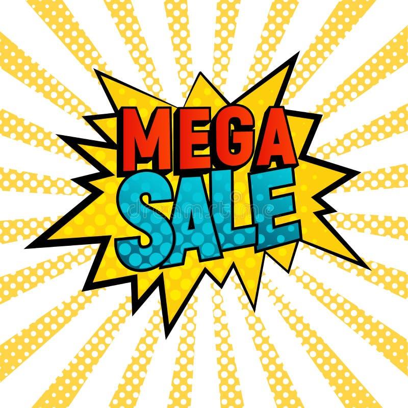 Μέγα διανυσματική κάρτα ύφους πώλησης κωμική απεικόνιση αποθεμάτων