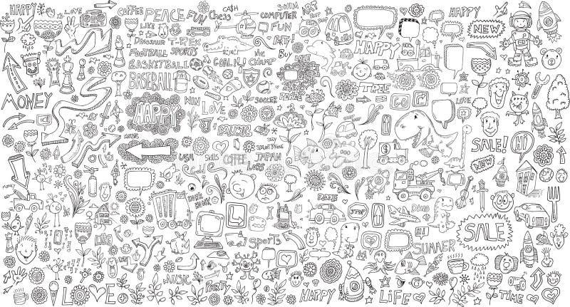 Μέγα διανυσματικό σύνολο στοιχείων σχεδίου Doodle ελεύθερη απεικόνιση δικαιώματος