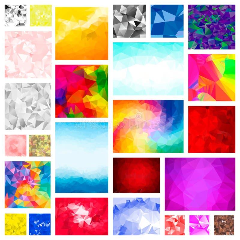 Μέγα καθορισμένο πακέτο των αφηρημένων τρισδιάστατων χαμηλών Polygonal υποβάθρων Στρόβιλος, μορφές γραμμών, μορφές Για την τυπωμέ ελεύθερη απεικόνιση δικαιώματος
