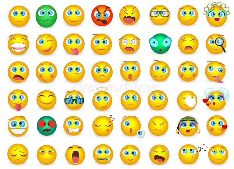 Μέγα μεγάλο σύνολο συλλογής εικονιδίων συγκίνησης προσώπου Emoji που απομονώνονται επίσης corel σύρετε το διάνυσμα απεικόνισης απεικόνιση αποθεμάτων