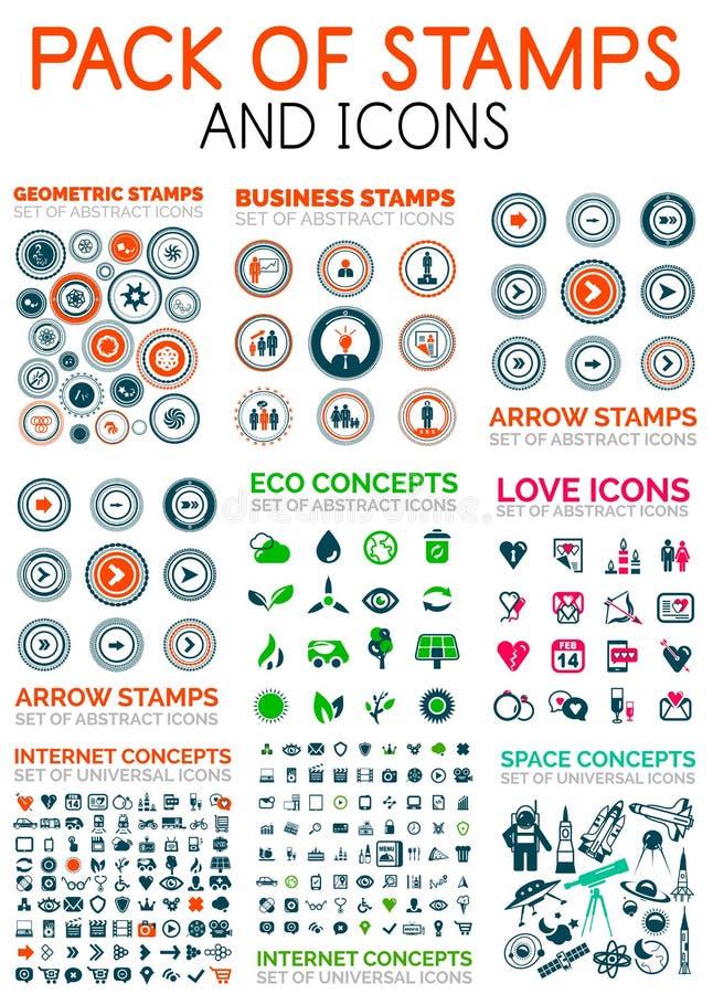 Μέγα πακέτο των στοιχείων σχεδίου γραμματοσήμων και εικονιδίων Ιστού τεχνολογίας ελεύθερη απεικόνιση δικαιώματος