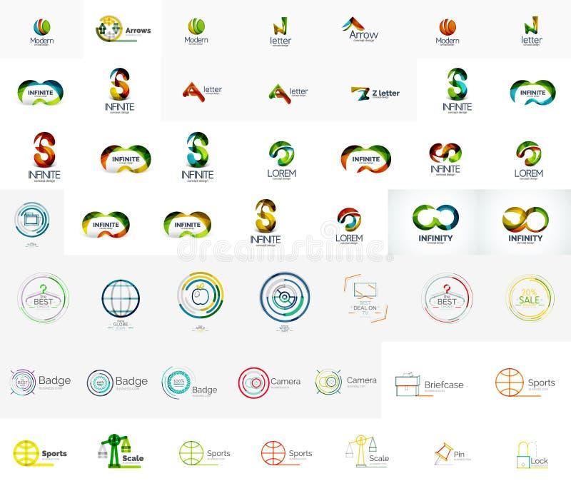 Μέγα συλλογή των αφηρημένων σχεδίων λογότυπων επιχείρησης ελεύθερη απεικόνιση δικαιώματος