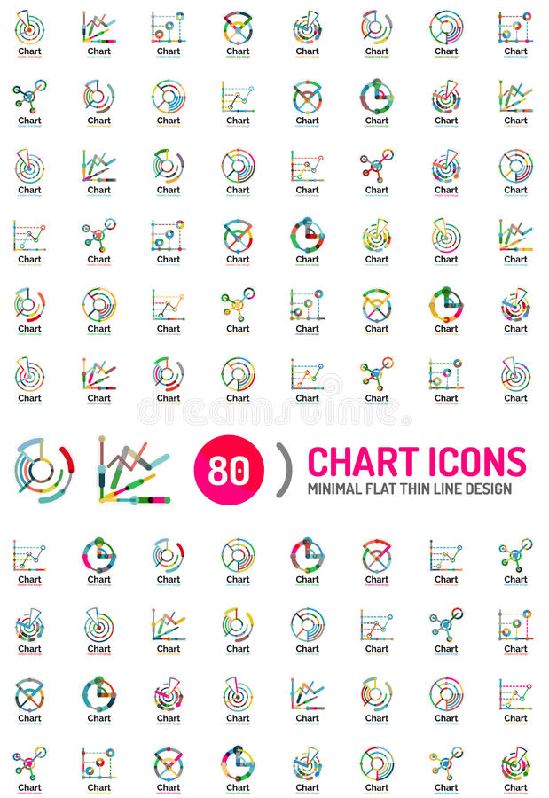 Μέγα συλλογή των επιχειρησιακών λογότυπων διαγραμμάτων ελεύθερη απεικόνιση δικαιώματος