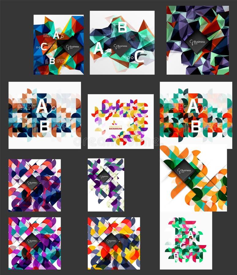 Μέγα συλλογή των χαμηλών πολυ αφηρημένων υποβάθρων μωσαϊκών τριγώνων διανυσματική απεικόνιση