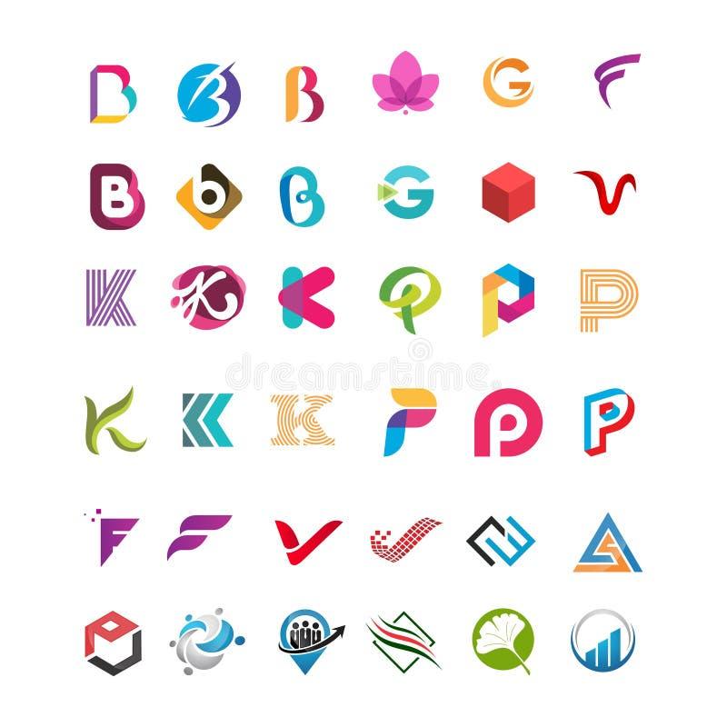 Μέγα σύνολο αφηρημένου λογότυπου επιστολών Β απεικόνιση αποθεμάτων