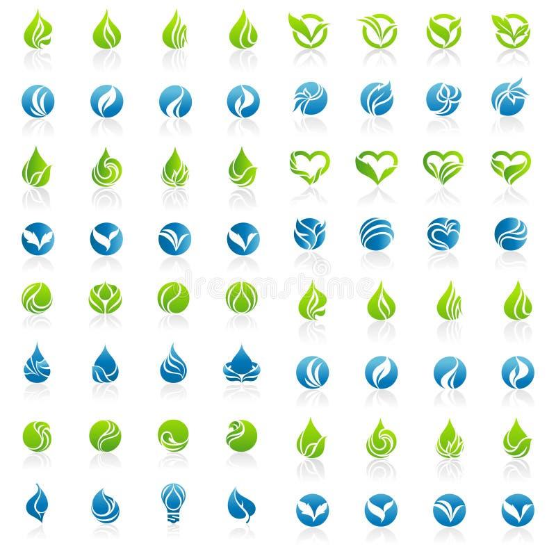 Μέγα σύνολο διανύσματος λογότυπων φύλλων διανυσματική απεικόνιση