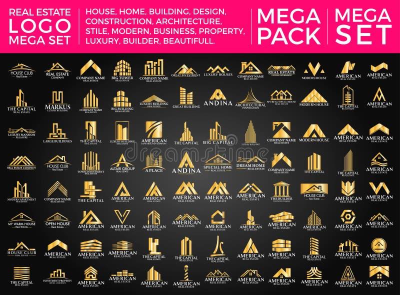 Μέγα σύνολο και μεγάλη ομάδα, ακίνητη περιουσία, διανυσματικό σχέδιο λογότυπων κτηρίου και οικοδόμησης διανυσματική απεικόνιση