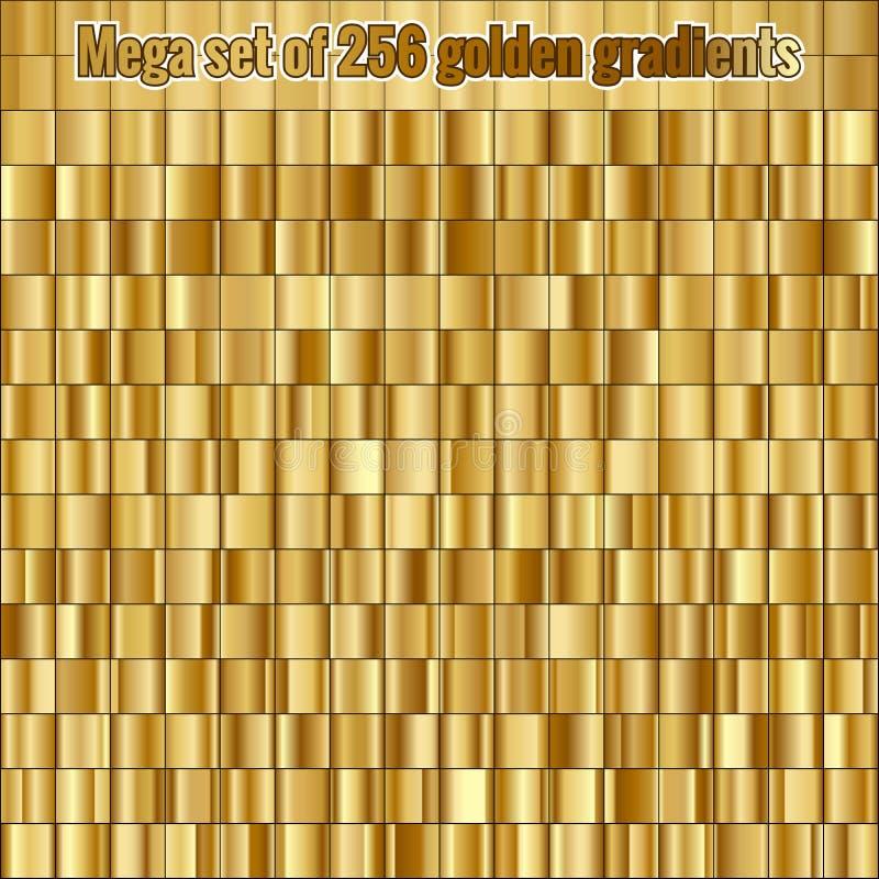 Μέγα σύνολο που αποτελείται από τη συλλογή 256 χρυσές κλίσεις 10 eps ελεύθερη απεικόνιση δικαιώματος