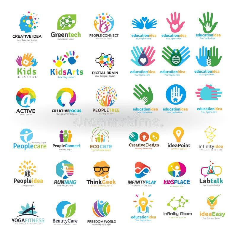 Μέγα σύνολο σχεδίου λογότυπων εκπαίδευσης απεικόνιση αποθεμάτων
