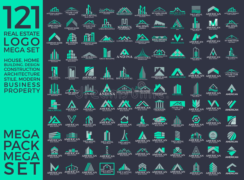 Μέγα σύνολο και μεγάλη ομάδα, ακίνητη περιουσία, διανυσματικό σχέδιο λογότυπων κτηρίου και οικοδόμησης στοκ εικόνες με δικαίωμα ελεύθερης χρήσης