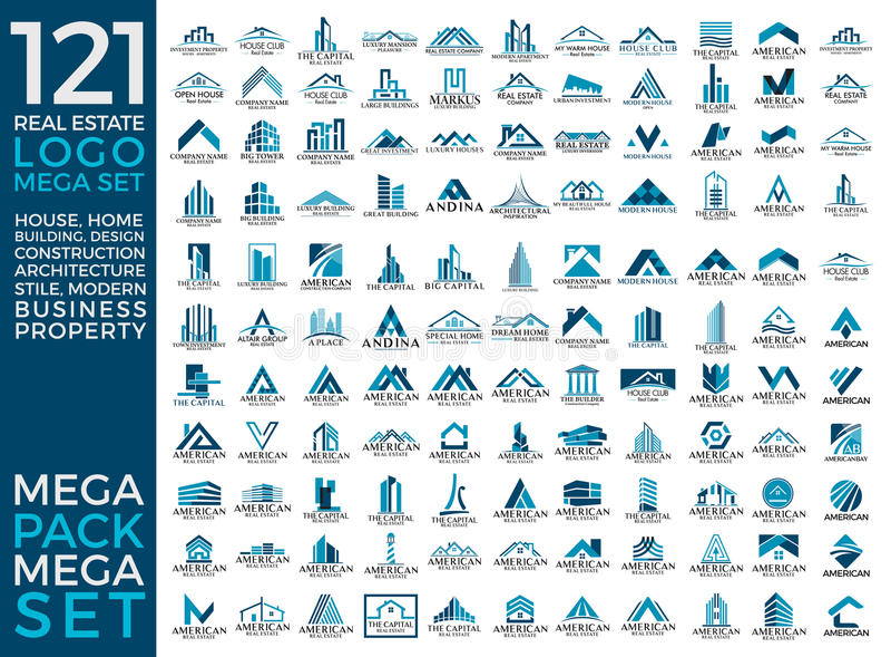 Μέγα σύνολο και μεγάλη ομάδα, ακίνητη περιουσία, διανυσματικό σχέδιο λογότυπων κτηρίου και οικοδόμησης απεικόνιση αποθεμάτων