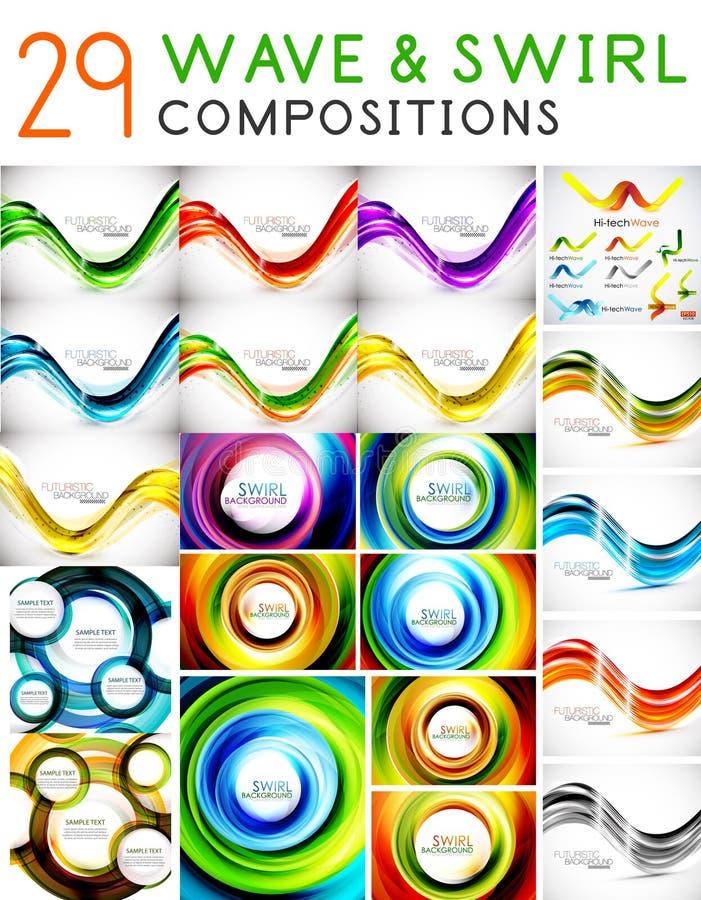 Μέγα σύνολο κυμάτων και στροβίλων - πρότυπα σχεδίου διανυσματική απεικόνιση