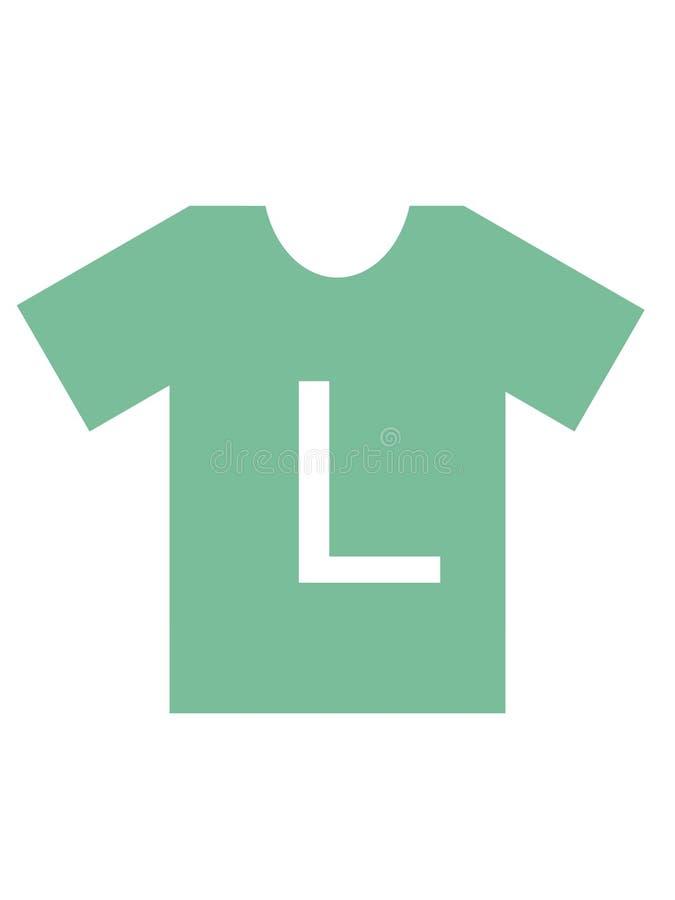 Μέγεθος των αυτοκόλλητων ετικεττών μπλουζών ιματισμού απεικόνιση αποθεμάτων