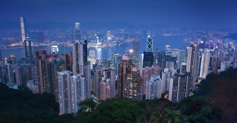 Μέγιστο Χονγκ Κονγκ Βικτώριας, σύγχρονα κτίρια γραφείων από την αιχμή στοκ φωτογραφία