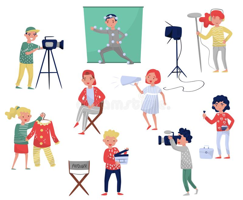 Μέλη του πληρώματος ταινιών Παραγωγός στην καρέκλα, καμεραμάν με τον εξοπλισμό, σχεδιαστής κοστουμιών, παραγωγή κινηματογράφων κα διανυσματική απεικόνιση