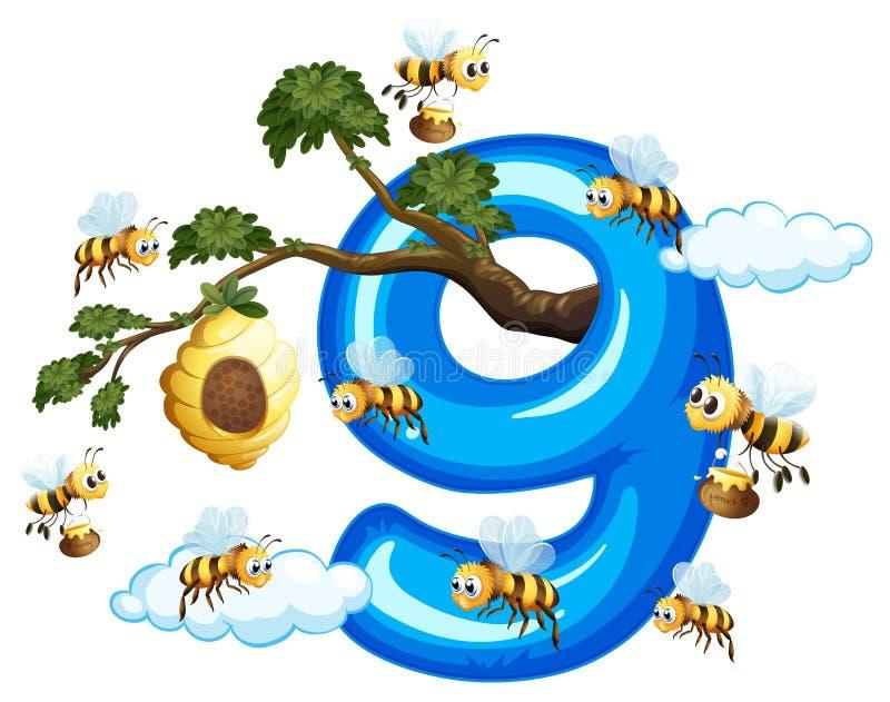 Μέλισσα εννέα με τον αριθμό εννέα ελεύθερη απεικόνιση δικαιώματος